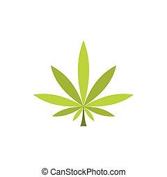 Marijuana leaf icon in flat style
