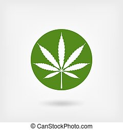 marijuana leaf in green circle. logo symbol. vector...