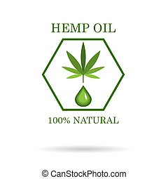 Marijuana leaf. Medical cannabis. Hemp oil. Natural cannabis. Icon product label and logo graphic template. Isolated vector illustration.