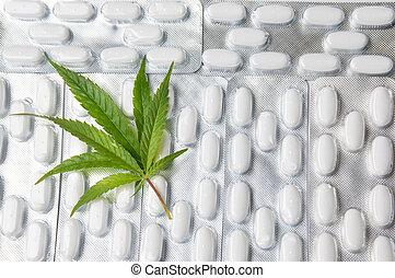 marijuana leaf on top of pills