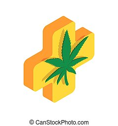 Marijuana leaf with a cross icon