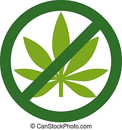 Marijuana Leaf with forbidden sign - no drug. No to marijuana. Cannabis leaf icon in prohibition green circle. No drugs allowed. Anti drugs. No smoking. Isolated vector illustration on white background.