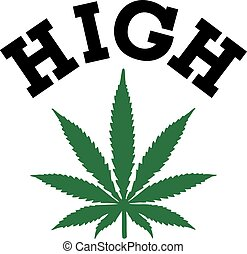 Marijuana leaf with HIGH word