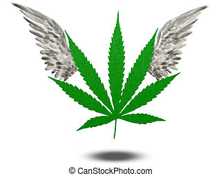 Marijuana Leaf with wings