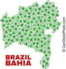 Marijuana Leaves Collage Bahia State Map - Vector marijuana ...