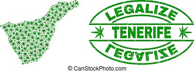 Marijuana Leaves Collage Tenerife Map with Legalize Grunge Stamp Seal
