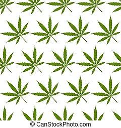 Marijuana leaves geometric seamless pattern on white background