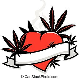 Marijuana leaves heart and banner - Illustration of...