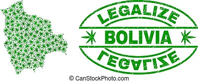 Marijuana Leaves Mosaic Bolivia Map with Legalize Grunge Stamp Seal
