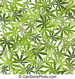 Marijuana leaves seamless pattern on white background