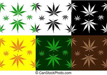 Marijuana leaves - vector pattern