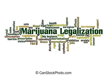 Marijuana Legalization word cloud with white background.