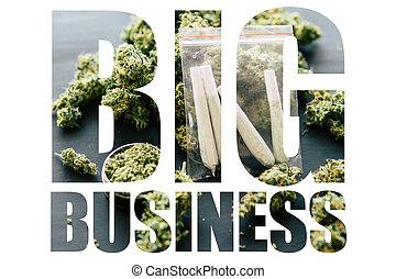 marijuana, negocio grande, blanco, fondo., arrollado, jamb,...