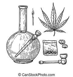 Marijuana or cannabis vector drawing set. Plant leaf, bong, pipe
