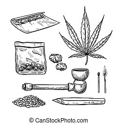 Marijuana or cannabis vector drawing set. Plant leaf, pipe, cigarette, buds,