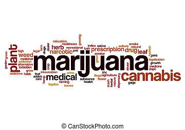 marijuana, palabra, nube