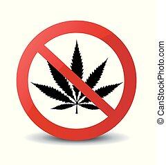 marijuana, parada, aislado, ilustración, señal, vector