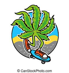 marijuana, pattinatore
