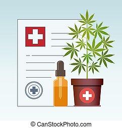 Marijuana plant and dropper with CBD oil. Cannabis Oil. Medical marijuana in Healthcare a prescription for medical marijuana.