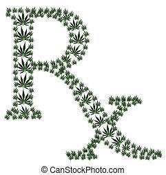 Marijuana prescription - A green prescription shaped symbol...