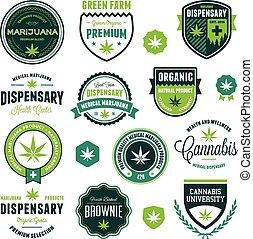 marijuana, produto, etiquetas