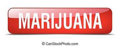 marijuana red square 3d realistic isolated web button