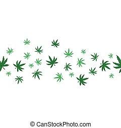 Marijuana seamless pattern on a white background. Vector graphics.