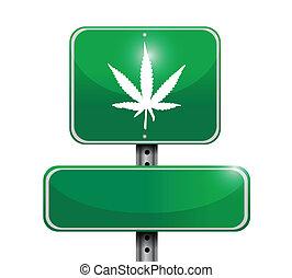 marijuana, segno strada, illustrazione, disegno