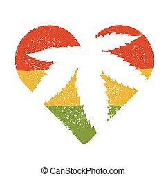 Marijuana silhouette in heart shape. Vector marijuana leaf ...