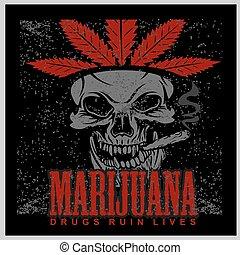 Marijuana Skull on grunge background. Vector for prints and tshirts