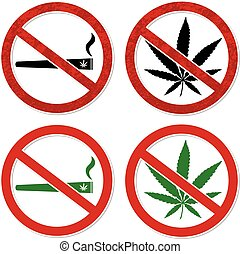 Marijuana smoking prohibited symbol sign vector illustration with separate layers eps 10