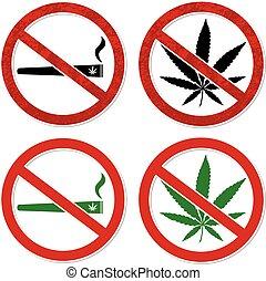 Marijuana smoking prohibited symbol sign vector illustration...