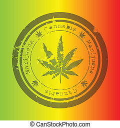 Marijuana stamp on rastafarian background