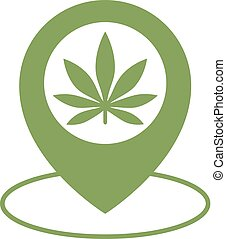 Marijuana store location icon. Map pointer. Cannabis, marijuana leaf.