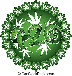 420 marijuana cannabis text made of leafs vector illustration