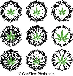 marijuana cannabis hemp leaf symbol stamps vector illustration