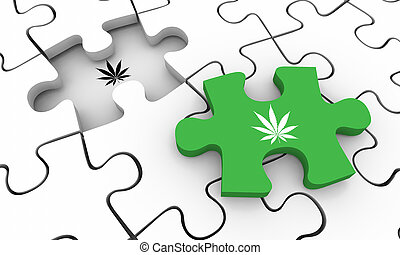 Marijuana Weed Pot Cannabis Puzzle Piece Final Solved 3d Illustration