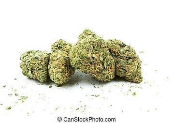 marijuana, y, cannabis, fondo blanco