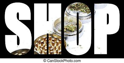 marijuana, y, cannabis, tienda
