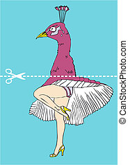 Marilyn Monroe legs under the head of a peacock