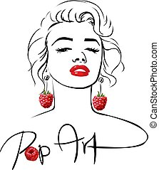Marilyn - Pop Art Design with sweet raspberry earring ...