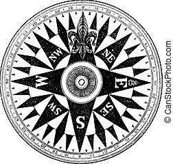 marin, årgång, kompass, brittisk, engraving.
