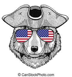 marin, a armé, tricorn, chien, pirate, marin, loup, chapeau, marin, seafarer, chapeau, ou