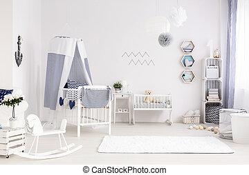 marin, bébé, salle, style