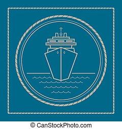 marin, bateau, emblème, croisière