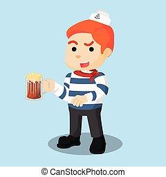 marin, bière, illustration, tenue