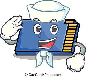 marin, caractère, dessin animé, carte, mémoire