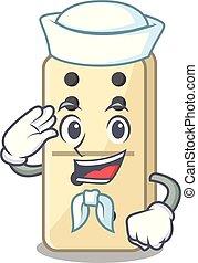 marin, caractère, mignon, dominos, étagères, dessin animé