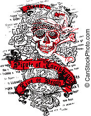 marin, crâne, fleur