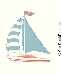 marin, dessin animé, bateau, isolé